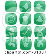 Royalty Free RF Clipart Illustration Of A Digital Collage Of Green Browser Square Buttons by Kheng Guan Toh