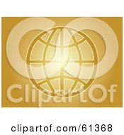Royalty Free RF Clipart Illustration Of A Gold Wire Globe On A Glowing Golden Background by Kheng Guan Toh