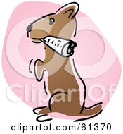 Royalty Free RF Clipart Illustration Of A Cute Dog Fetching A Newspaper And Sitting Up