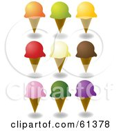 Digital Collage Of Waffle Ice Cream Cones With Colorful Scoops Of Ice Cream