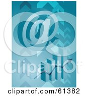 Royalty Free RF Clipart Illustration Of A 3d Arobase Symbol Over A Bar Graph On A Blue Arrow Background