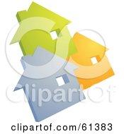 Three Gray Green And Orange House Icons On White
