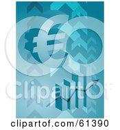 3d Euro Symbol Over A Bar Graph On A Blue Arrow Background