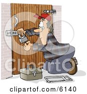 Male Locksmith Picking A Padlock Clipart Picture