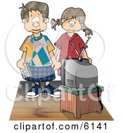 Brother And Sister Watching Tv Together Clipart Picture by djart