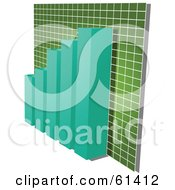 Royalty Free RF Clipart Illustration Of A 3d Teal Bar Graph Against A Green Gradient Grid