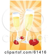 Royalty-free (RF) Clipart Illustration of Two Glasses Of Champagne With Strawberries On A Bursting Orange Background by Kheng Guan Toh #COLLC61416-0130