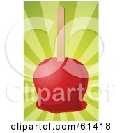 Royalty-free (RF) Clipart Illustration of a Red Candy Apple On A Stick And A Bursting Green Background by Kheng Guan Toh #COLLC61418-0130