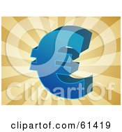 Royalty-free (RF) Clipart Illustration of a Blue 3d Euro Symbol On A Bursting Brown Background by Kheng Guan Toh #COLLC61419-0130