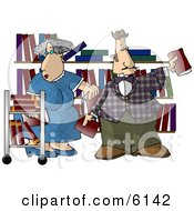 Librarians Putting Books On Shelves Clipart Picture by djart