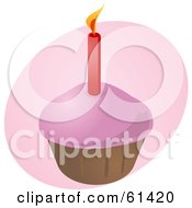 Red Candle In A Pink Frosted Birthday Cupcake