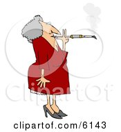 Old Woman Smoking A Cigarette On A Long Filter