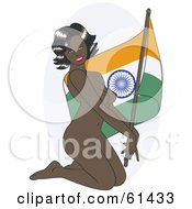 Royalty Free RF Clipart Illustration Of A Nude Pinup Woman Kneeling And Posing With An India Flag by r formidable