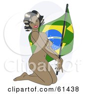 Royalty Free RF Clipart Illustration Of A Nude Pinup Woman Kneeling And Posing With A Brazil Flag by r formidable