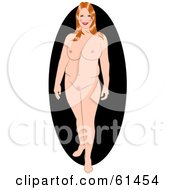 Royalty Free RF Clipart Illustration Of A Big Nude Red Haired Pinup Woman Standing And Smiling