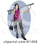 Royalty Free RF Clipart Illustration Of A Sexy Lady Wearing A Purple Dress And Touching A Bar