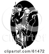 Royalty Free RF Clipart Illustration Of A Gangster Couple With A Tommy Gun