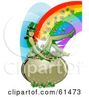 Sexy Leprechaun Woman Sitting In A Pot Of Gold And Clovers At The End Of A Rainbow