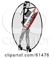 Royalty Free RF Clipart Illustration Of A Sexy Woman Looking Back And Playing A Keytar by r formidable