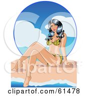 Royalty Free RF Clipart Illustration Of A Sexy Bikini Clad Woman Dipping Her Toes In The Surf On A Beach