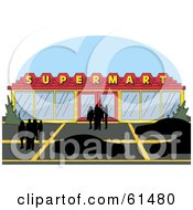 Royalty Free RF Clipart Illustration Of Silhouetted People In A Parking Lot Outside Of A Super Market
