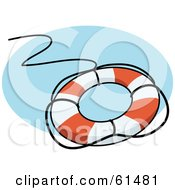 Royalty Free RF Clipart Illustration Of A Life Preserver With A Black Rope