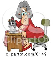 Elderly Seamstress Woman Sewing A Dress Clipart Picture