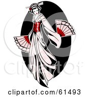 Royalty Free RF Clipart Illustration Of A Beautiful Geisha Woman In A Pale Pink Dress Holding Fans by r formidable