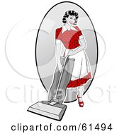 Royalty Free RF Clipart Illustration Of A Sexy Retro Woman Vacuuming