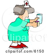 Female Nurse Holding A Pill Cup And A Glass Of Water For A Patient At A Hospital Clipart Picture