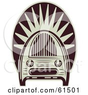 Royalty Free RF Clipart Illustration Of A Maroon And White Vintage Radio