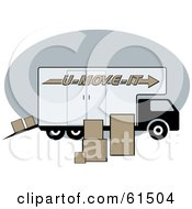 Royalty Free RF Clipart Illustration Of A Moving Truck Surrounded By Cardboard Boxes