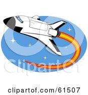 Royalty Free RF Clipart Illustration Of A Space Shuttle Shooting Through Space With Flames