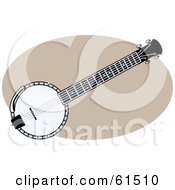 Royalty Free RF Clipart Illustration Of A Black And White Banjo by r formidable