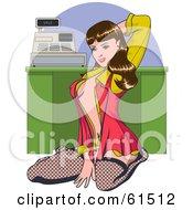 Sexy Brunette Cashier Woman Kneeling In Stockings