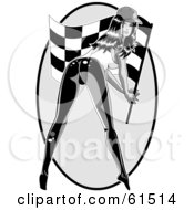 Royalty Free RF Clipart Illustration Of A Sexy Woman Bending Over And Waving A Racing Flag
