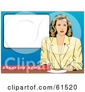 Royalty Free RF Clipart Illustration Of A News Anchor Woman Seated At A Desk With A Blank White Screen