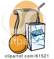 Royalty Free RF Clipart Illustration Of A Bagged Lunch With Milk And An Orange