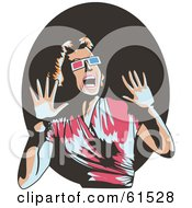 Scared Retro Woman Wearing 3d Glasses Screaming And Holding Her Hands Up