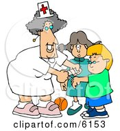 Female School Nurse Putting A Bandage On A Boo Boo Of A School Boy Clipart Picture