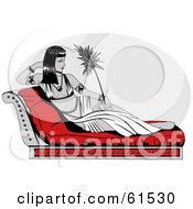 Royalty Free RF Clipart Illustration Of Cleopatra Reclined On A Seat Holding A Leaf Or Feather
