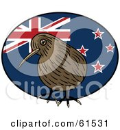 Royalty Free RF Clipart Illustration Of A Kiwi Bird Standing In Front Of A Round Kiwi Flag