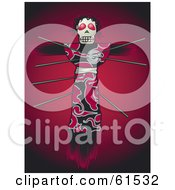 Royalty Free RF Clipart Illustration Of Pins In A Creepy Voodoo Doll On A Red Background