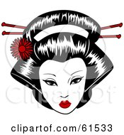Royalty Free RF Clipart Illustration Of A Pretty Geisha Face With Pins In Her Hair by r formidable
