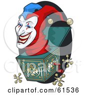 Royalty Free RF Clipart Illustration Of A Creepy Jack In The Box Head Popping Out