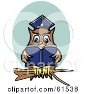 Royalty Free RF Clipart Illustration Of A Smart Owl Reading A Book While Perched On A Branch