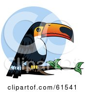 Royalty Free RF Clipart Illustration Of A Chubby Toucan Bird Perched On A Branch