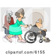 Female Nurse Pushing A Senior Mans Wheelchair Past An Old Lady Using A Cane In The Hospital