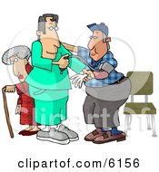 Male Nurse Taking A ManS Blood Pressure Reading While A Senior Woman Walks With A Cane In The Hospital