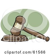 Royalty Free RF Clipart Illustration Of A Wooden Judges Gavel Banging